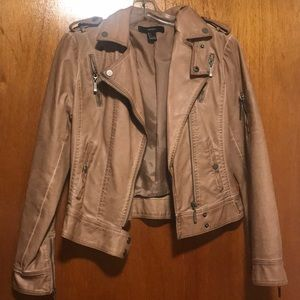 Camel faux leather motorcycle jacket